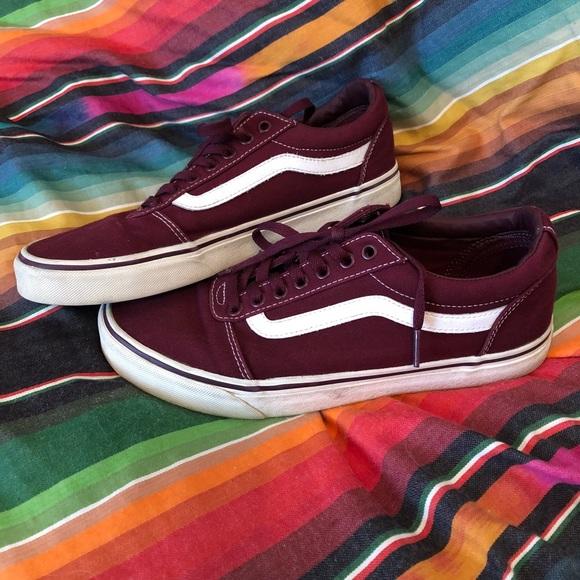 Vans Ward Low Burgundy Skate Shoes Size